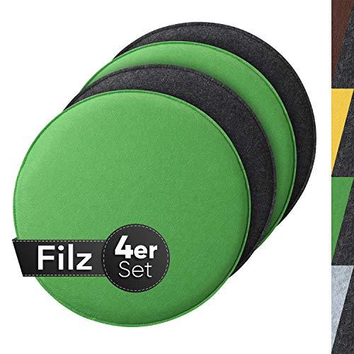 Sidorenko gemütliches Sitzkissen rund aus Filz Ø 36cm - 4er Set Grau I Grün - Waschbare Stuhlkissen kompatibel für Schalenstuhl - Komfortable Sitzauflage für Bank I Stuhl