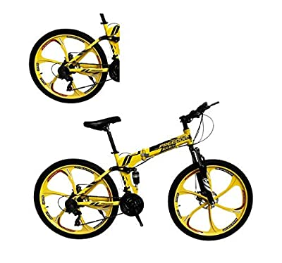 Lomelomme 26 Inch Folding Mountain Bike Shimanos Folding Bikes for Men Women 21 Speed Full Suspension Disc Brakes Cruiser Bicycles Trek MTB [US in Stock] (Yellow)