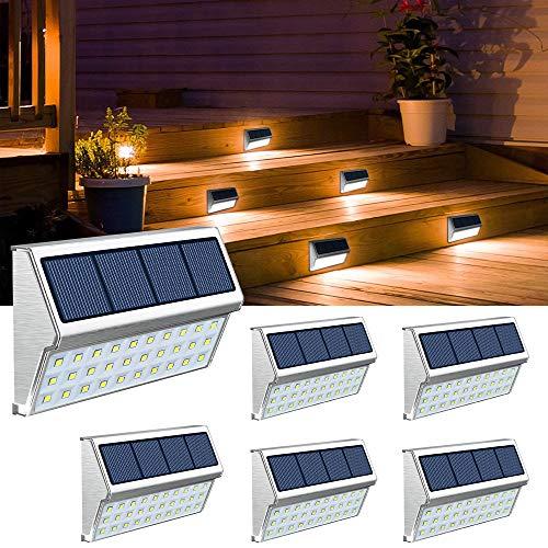 JSOT Luce Solare Led Esterno, 30 LED Lampade Solari a Led da Esternoin Impermeabili, per Cortile, Scale, Recinzione – Luce Bianca, 6 Pack