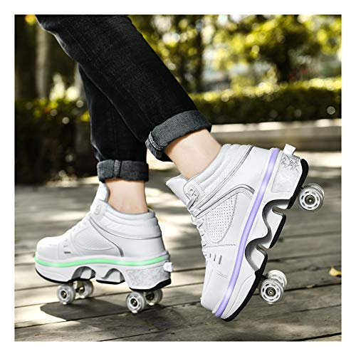 ZXSZX Patines Unisex Zapatos Multiusos 2 En 1, Botas De Patín De Cuatro Ruedas Ajustables con Batería De Litio Recargable Y Luces LED De Colores, Impermeables Y Lavables,B-38