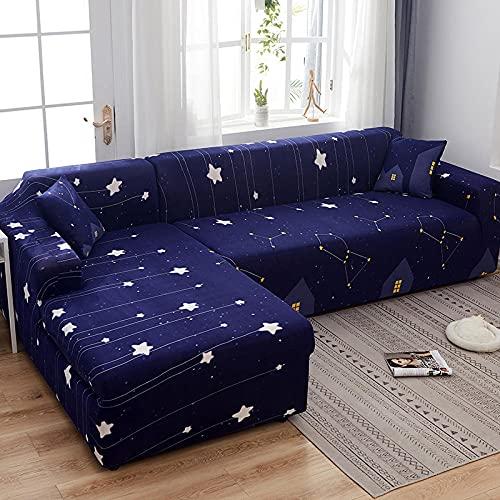 Funda elástica para sofá de 4 plazas, fundas de sofá elásticas de poliéster y elastano impresas, fundas de sofá de ajuste universal, fundas antideslizantes para muebles, color azul, estrellas