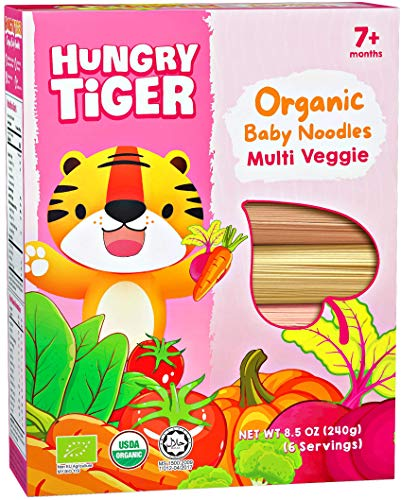 Hungry Tiger Organic Baby Noodles - Multi Veggie, for babies and toddlers age 7 months or above, no preservatives, 6 veg flavours, alternative to pasta (8.5oz, 6 portions/pack)
