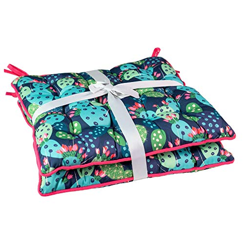Unknown1 2pk Cactus Seat Cushion with Flame Retardant Filling Multi Color Floral Traditional Polyester Water Resistant