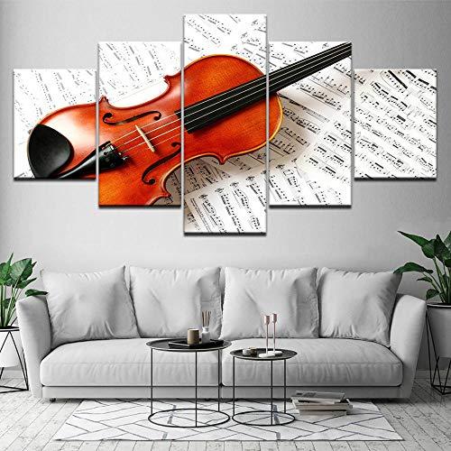 ZLARGEW Música de violín 5 Piezas HD Art Canvas Print Póster Moderno Pintura de Arte Modular para Sala de...