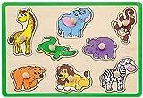Jouéco Puzzle con forma de animales de safari, 8 unidades, color verde