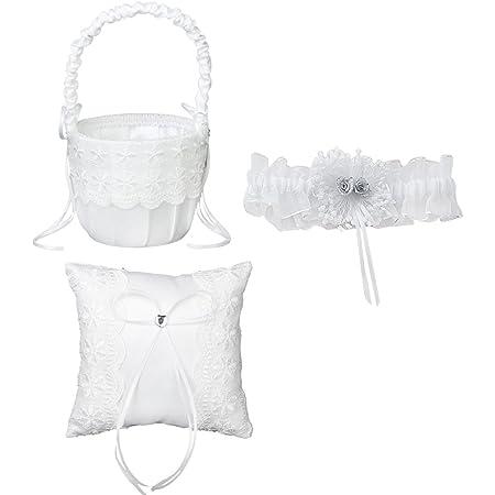 Juego de accesorio para bodas - Cojín de encaje para anillo de 15x 15cm, cesta blanca con diseño de flores y liga de novia