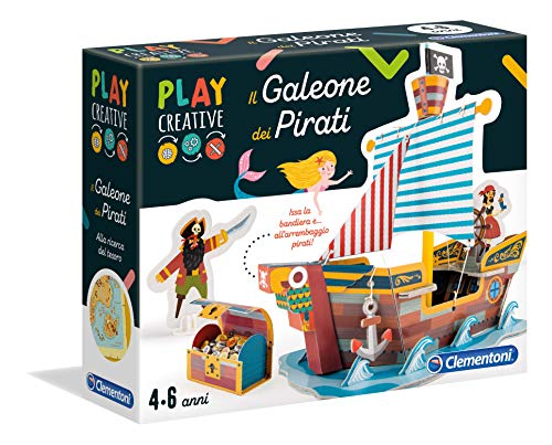 Clementoni- Play Creative-Il Galeone del Pirata Gioco, Multicolore, 18549