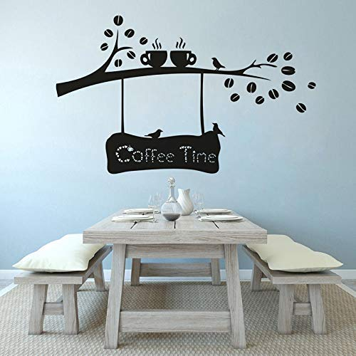 Dibujos Animados Tea Time Coffee Shop Logo Vinilo Wall Art Decal Puerta Ventana Decoración Granos De Café Rama Etiqueta De La Pared Taza De Café Bird Poster 114X70Cm