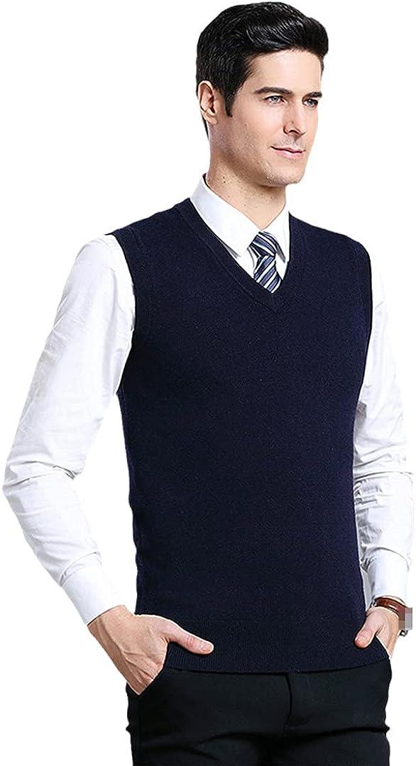 GYSAFJ Men Sweater Vests Wool V-Neck Vest Autumn Winter Solid Color Vest