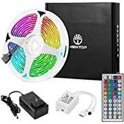 WenTop Led Strip Lights Kit 16.4 Ft (5M) 150leds 30leds/m 5050 SMD RGB LED Tape Lights with DC12V 44key Ir Remote Controller for Kitchen Bedroom Sitting Room