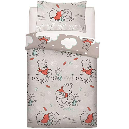 Disney Winnie The Pooh Whimsy Cloud Piglet Grey Duvet Set Bed Quilt Cover Pillowcase Reversible Bedding[Single]
