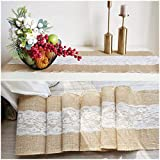 """Stylish14 Burlap Table Runner with Lace 12"""" x 360"""" Long Burlap Lace Roll, Rustic Natural Burlap Fabric Roll with Middle Hallow Out Lace for Wedding Party Dining Shower Home Decor 10 Yards"""