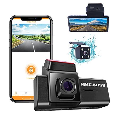 WiFi Dashcam, MHCABSR Fahrrekorder Autokamera 1080P Front- und Rückfahr Kamera Armaturenbrett mit APP, Nachtsicht, Bewegungserkennung, Loop-Aufnahme