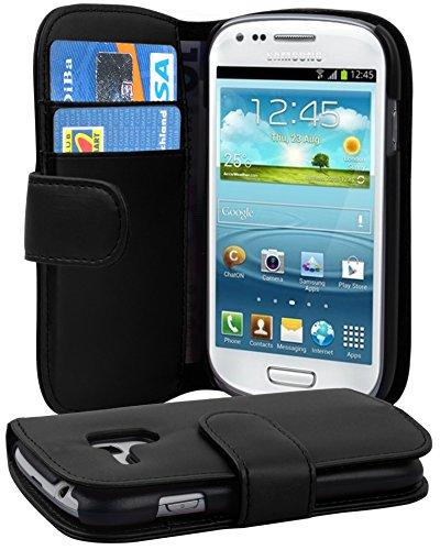 Cadorabo Hülle für Samsung Galaxy S3 Mini - Hülle in KAVIAR SCHWARZ – Handyhülle mit Kartenfach aus glattem Kunstleder - Case Cover Schutzhülle Etui Tasche Book Klapp Style