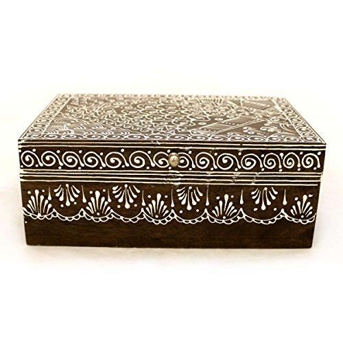 Gall&Zick Caja de madera, cofre del tesoro, cofre del tesoro, pintado a mano, baúl oriental, madera maciza, marrón y blanco