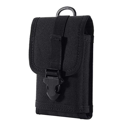 Zeato EDC-MOLLE-Handy-Tasche im Militär-Stil, für Taille, Halfter-Tasche mit Gürtelclip, 1000D-Nylon, für iPhone 7 Plus, 6S, 6 Plus, Galaxy Note 5, S8, S7, S6, Edge, LG, Sony und mehr (schwarz)