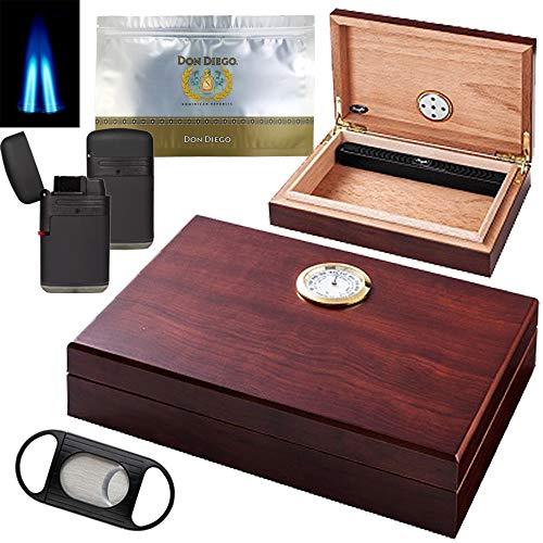 Zigarren Humidor Set Aspen - Humidor innen Zeder Polymerbefeuchter und Hygrometer aussen inkl. Cutter 2-Flammen Jet Feuerzeug Zigarren-Folientasche luftdichter Druckverschluss