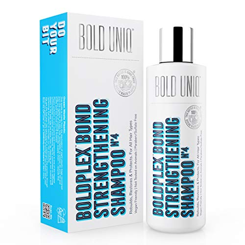 Bold Plex Bond Champú de Proteínas para Cabello Seco y Dañado - Hidratante para Pelo Rizado, Seco, Teñido, Encrespado, Dañado o Decolorado - Sin Parabenos ni Sulfatos - 100% Vegano - 237 ml