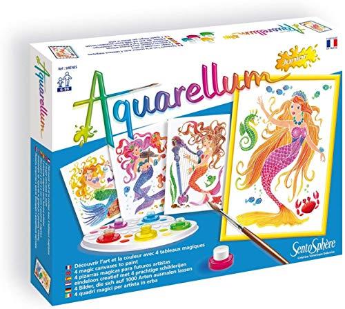 Sentosphere 3900664 Aquarellum Junior, Malset für Kinder, Motiv Meerjungfrauen, Bastelset, Kreativ-Set, DIY