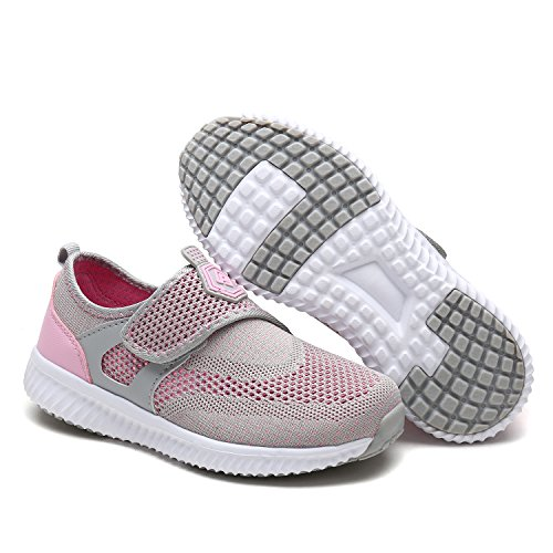 DREAM PAIRS Toddler 170387-K Lt.Grey Pink Comfort Loafer Shoes Sneakers - 7 M US Toddler
