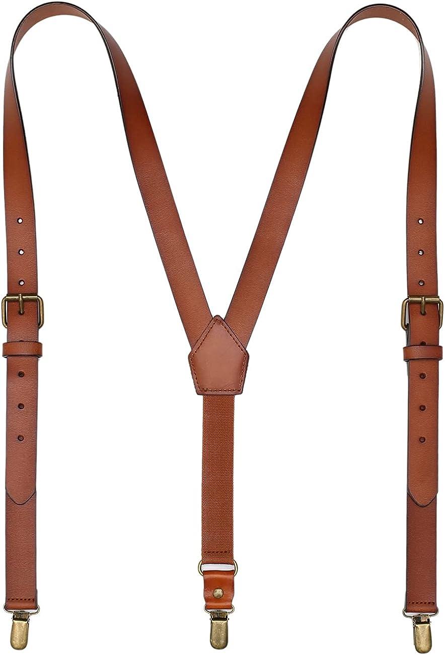 Leather Suspenders For Men Y Back Design Adjustable Widened Brown Genuine Leather Suspenders Personalized groomsmen gifts