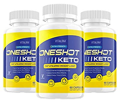 (3 Pack) Official One Shot Keto, BHB Ketones for Men and Women, 3 Month Supply