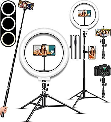 Selfie Ring Light, LED Light Ring with Stand, Circle Light for Makeup/Live Stream, Desktop Camera LED Ringlight with Tripod and Phone Holder Ring Lights for Photography/YouTube/Video Recording/Vlogs from USEWELL