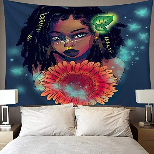 Tapiz de arte negro tapiz de pared hermosa mujer africana negra América con tapiz de corona de reina tela de fondo A10 100x150cm