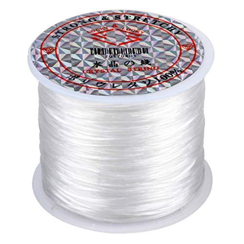 Cdrox 60m / Rollo elástico joyería Que rebordea Hilo Hilo de cordón Que rebordea la Cuerda elástico Rebordear DIY Pulsera de Pulsera Tobillera elástica del Collar de Hilo, Blanca