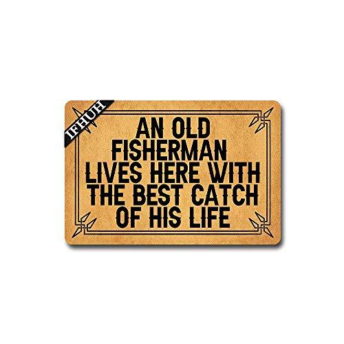 IFHUH an Old Fisherman Lives Here with The Best Catch of His Life Doormat Entrance Floor Mat Funny Welcome Mat Funny Monogram Door Mat Decorative Indoor Outdoor Doormat 23.6 in(W) x 15.7 in(L)