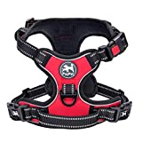 PoyPet No Pull Dog Harness, [2018 Upgrade Edition] Reflective Vest Harness with Front & Back 2 Leash Attachments and Easy Control Handle for Small Medium Large Dog (Red, Small)