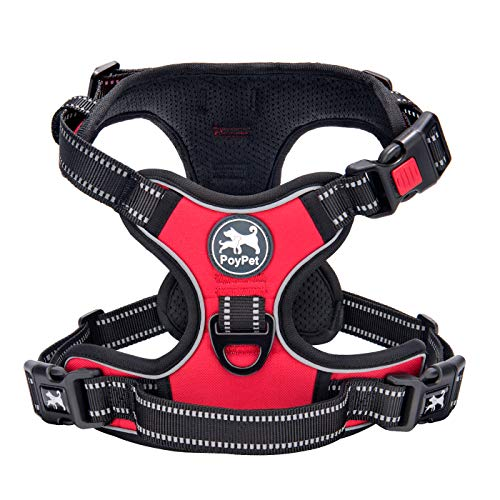 No Pull Dog Harness, [2018 Upgrade Edition] Reflective Vest Harness with Front & Back 2 Leash Attachments and Easy Control Handle for Small Medium Large Dog (M, Red)