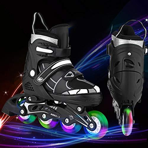Hesyovy Leucht PU Räder Inline-Skates, Rollerblades für Kinder, größenverstellbar von 31 bis 42, ideal für Anfänger, komfortable Rollschuhe, Inliner für Mädchen und Jungen (Schwarz-Weiß, EU 31-34)