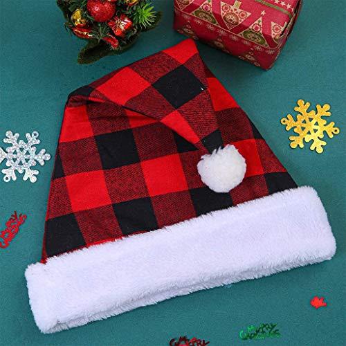 SHSH Weihnachtsmütze,Schwarz-Rotes Spleißen Plaid Polyester Hüte mit Fellkugeln für Erwachsene Weihnachtsstirnband Weihnachtsmütze für Erwachsene Weihnachtsmütze Plüschkrempe Roter Unisex