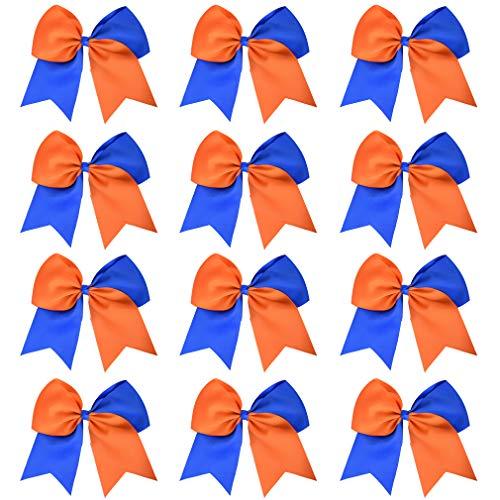 DEEKA 12PCS 8' Two Toned Large Cheer Hair Bows Ponytail Holder Handmade for Teen Girls Softball Cheerleader Sports-Royal Blue/Orange