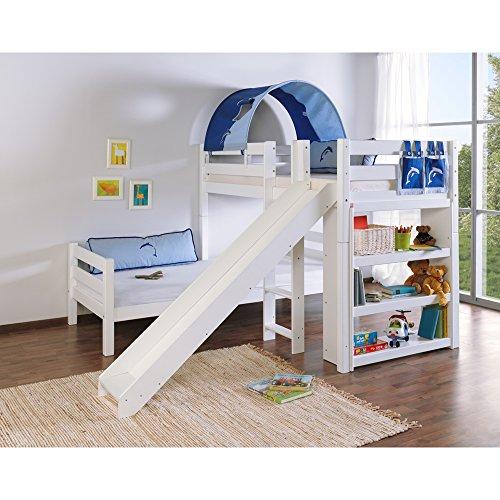 Relita Etagenbett BENI L mit Rutsche, Buche massiv, weiß lackiert, mit Tunnel und Tasche blau Delphin