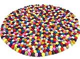 Guru-Shop Filzkugel-Teppich Bunt 60 cm, Mehrfarbig, Wolle, Teppiche, Bodenmatten
