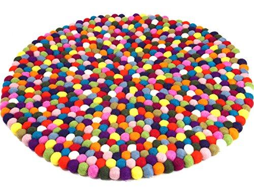 GURU SHOP Filzkugel-Teppich Bunt 60 cm, Mehrfarbig, Wolle, Teppiche, Bodenmatten