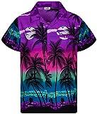 King Kameha Funky Casual Camisa hawaiana para hombre, bolsillo frontal, con botones, manga corta, unisex, estampado de playa - Morado - 6X-Large