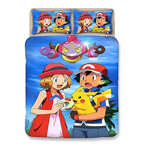 XKNSYMRL Colcha Cama 180X200, Pikachu Impresión Digital 3D Colchas Cama90, Premium Poliéster Microfibra Muy Suave Conjuntos De Ropa De Cama, para Muchachos Chicas (220X220Cm)