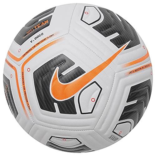 Nike Unisex's Academy - Team Football Ball, White/Black/Total Orange, 5