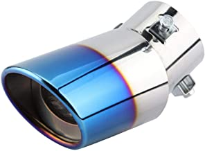Aramox Exhaust Tail Muffler Tips Chrome Blue Stainless Steel GM Curved Exhaust Pipe Rear Muffler Tip Tail Throat