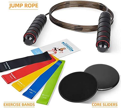 RISEFIT Kit de entrenamiento en el hogar: cuerda de saltar ajustable, bandas de ejercicio de resistencia, control deslizante central para ejercicios en el hogar, entrenamiento de fuerza y ejercicio de entrenamiento
