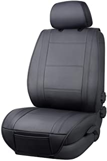 AmazonBasics Deluxe Sideless Universal Fit Leatherette Seat Cover with Back Organizer, Black