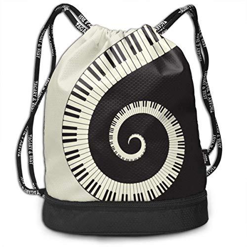 Rucksäcke,Sporttaschen,Turnbeutel,Daypacks, Piano Keyboard Wallpaper 3D Drawstring Bag Sport Gym Travel Bundle Backpack Pack Beam Mouth Shoulder Bags