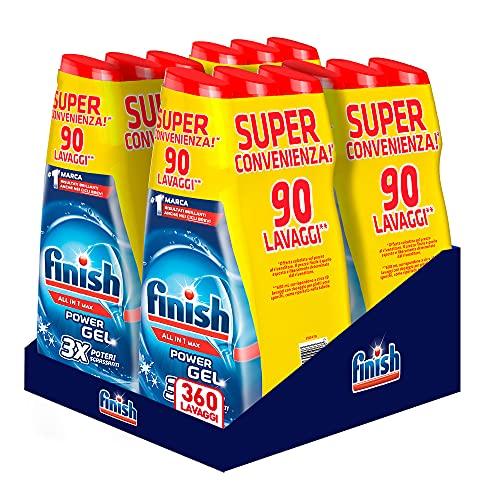 Finish Powergel Gel Detersivo per Lavastoviglie Liquido, Multiazione, Poteri Sgrassanti, Fresh, 360 Lavaggi, 12 Confezioni da 30 Lavaggi
