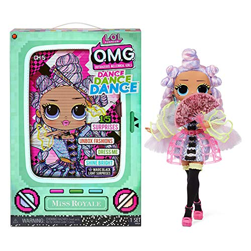 LOL Surprise OMG Dance Dance Dance Miss Royale Fashion Doll with 15 Surprises Including Magic Black Light, Shoes, Hair Brush, Doll Stand and TV Package - Great Gift for Girls Ages 4+