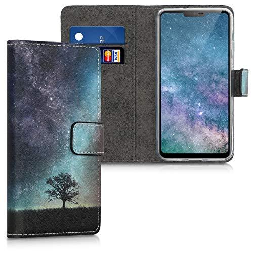 kwmobile Hülle kompatibel mit LG G7 ThinQ/Fit/One - Kunstleder Wallet Hülle mit Kartenfächern Stand Galaxie Baum Wiese Blau Grau Schwarz