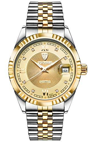 MLHXHX Reloj de hombre impermeable para hombre, reloj mecánico automático, esfera luminosa, estilo de negocios, oro