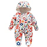 Famuka Baby Snowsuit Romper Fleece Lined Outwear Winter Warm Outfit with Gloves (3-6 Months, Orange)